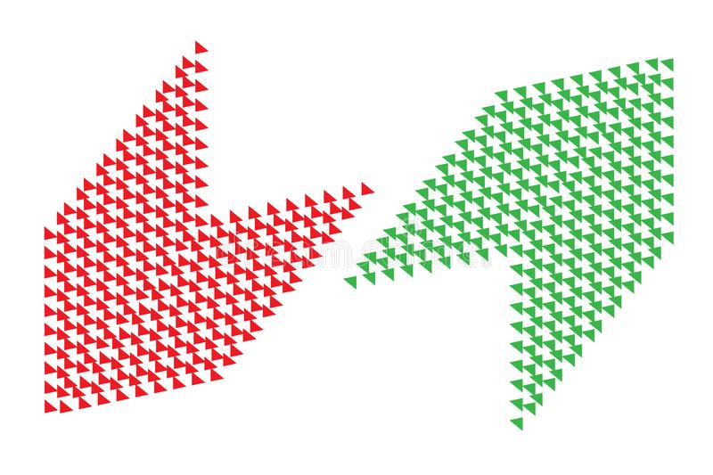 Pros and cons buy sell analysis red left green right arrows with transparent empty background. Concept for positive negative stock illustration