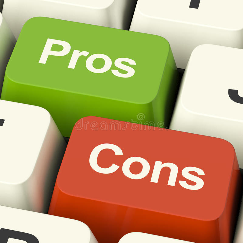 Pros Cons Computer Keys Showing Plus And Minus Alternatives Anal. Pros Cons Computer Keys Shows Plus And Minus Alternatives Analysis And Decisions stock image