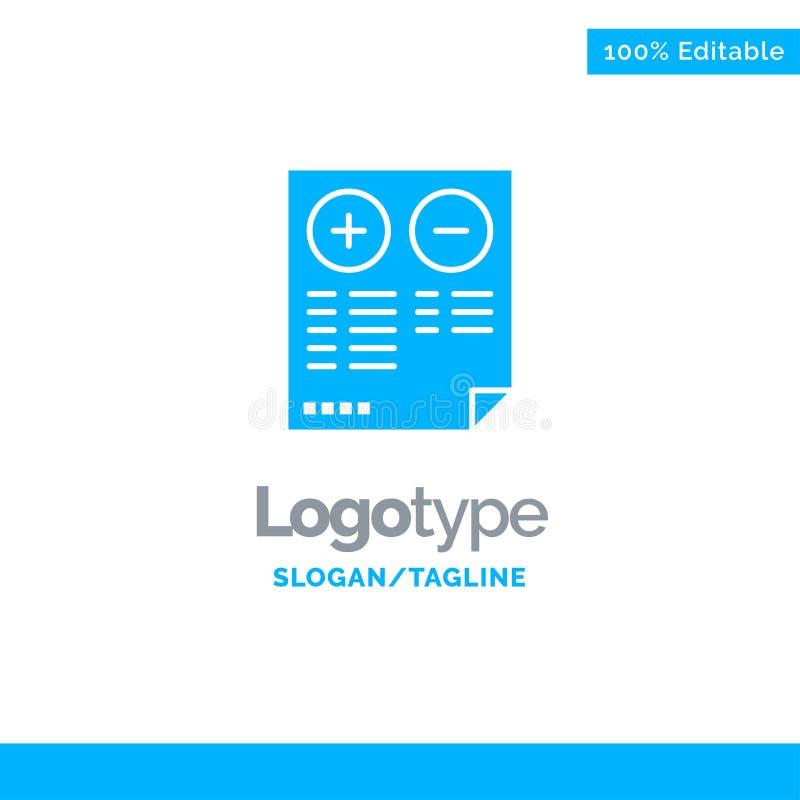 Pros, Cons, Document, Plus, Minus Blue Business Logo Template stock illustration