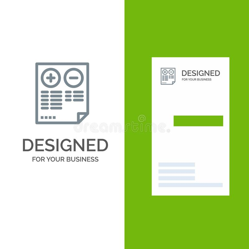 Pros, Cons, Document, Plus, Minus Grey Logo Design and Business Card Template vector illustration