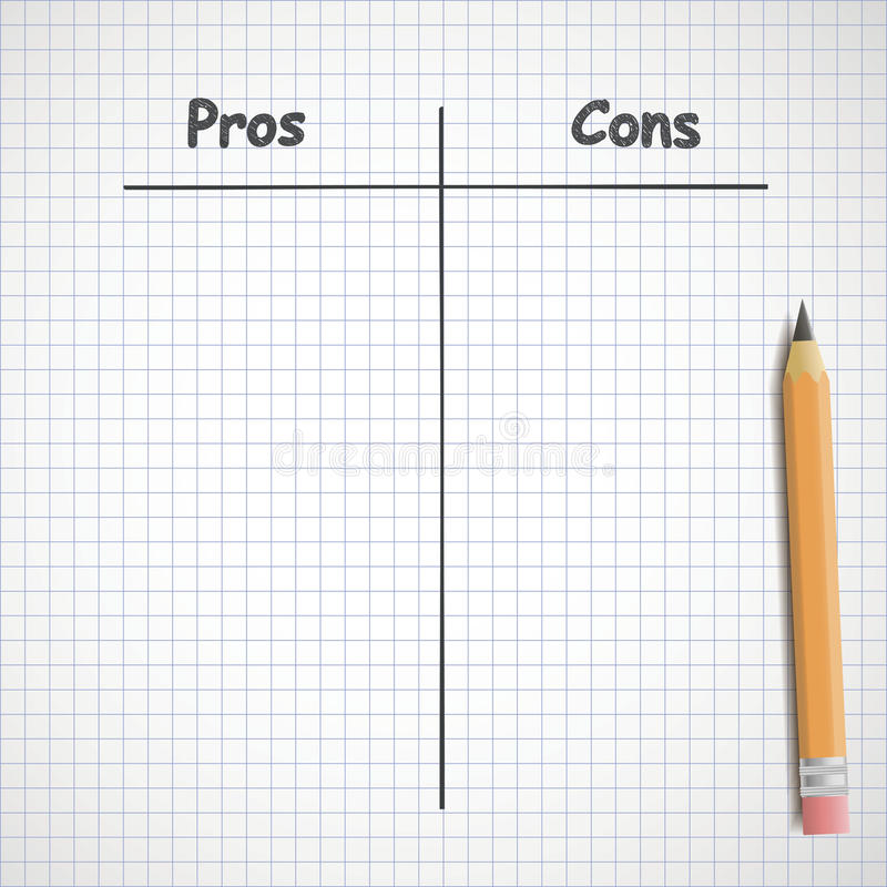 Pros and cons vector illustration