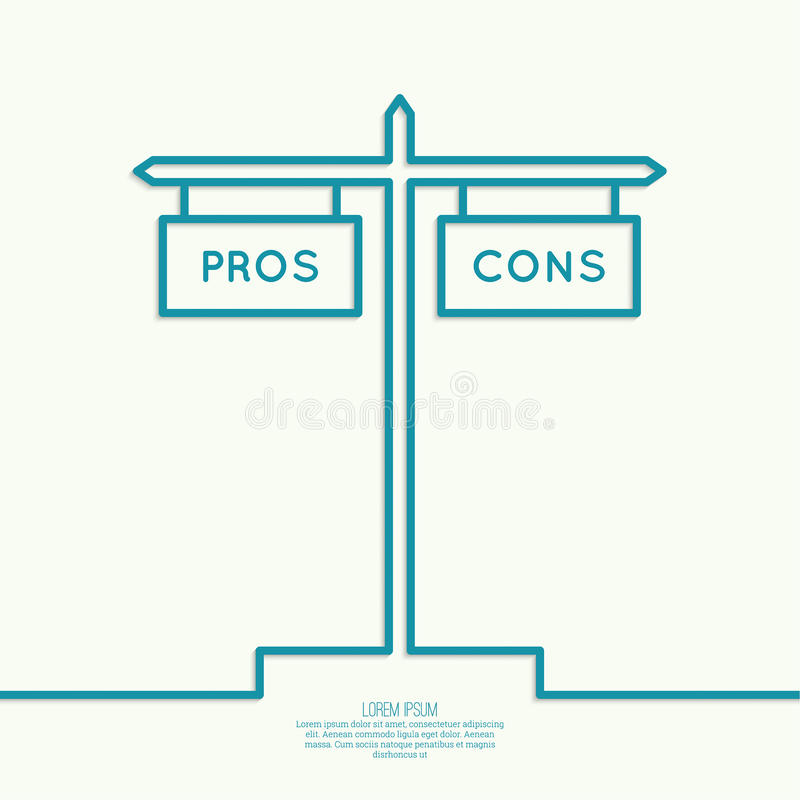 Pros and Cons list. Selection of the optimal solutions, weighing the facts royalty free illustration