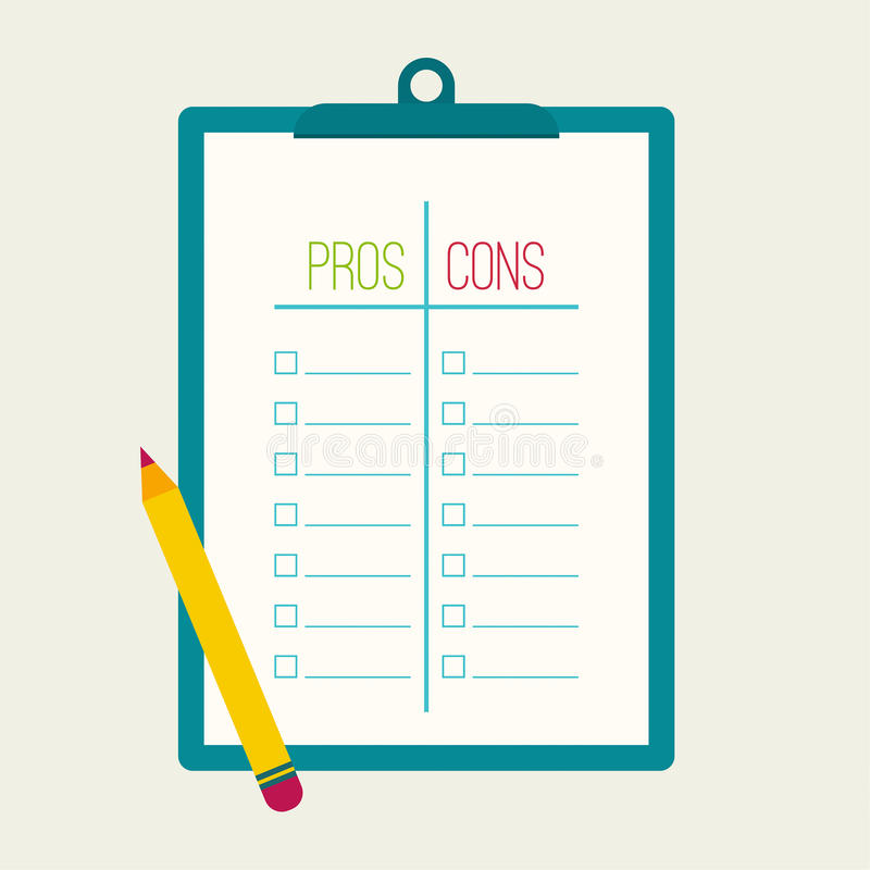 Pros and Cons list. Selection of the optimal solutions, weighing the facts. Clipboard and pencil. flat design stock illustration