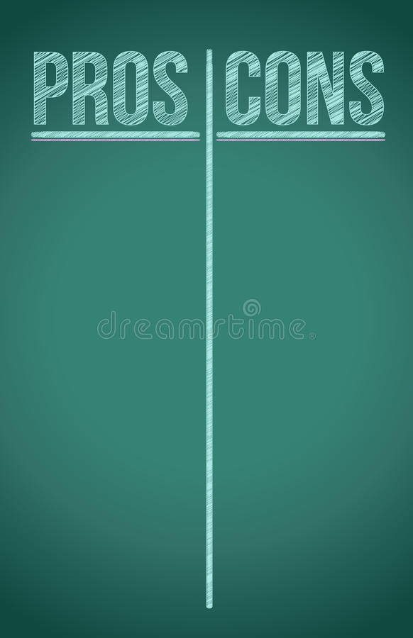 Pros and Cons List written in white chalk stock illustration
