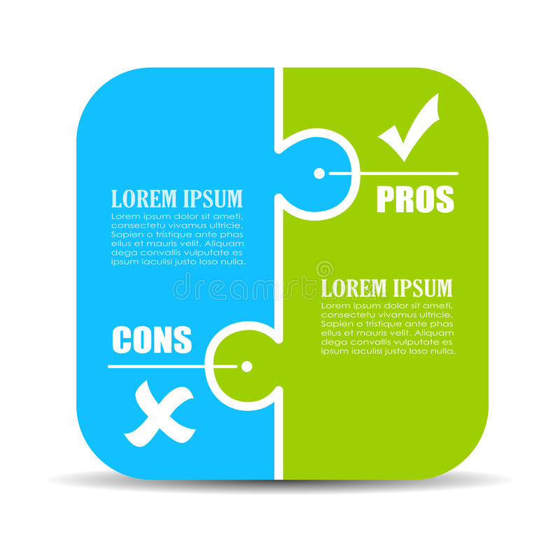 Pros and cons puzzle diagram vector illustration