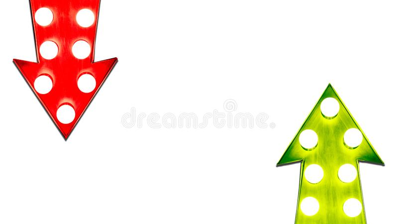 Pros and cons red and green left right up down vintage retro metal arrows illuminated light bulbs royalty free illustration