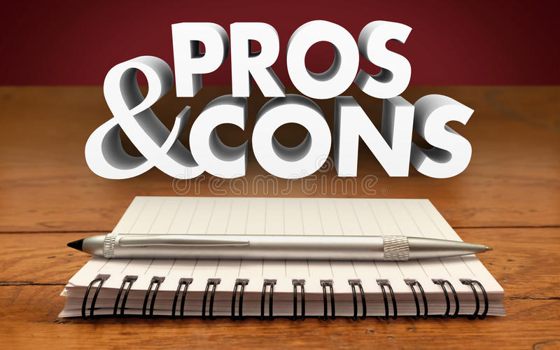 Pros and Cons Weighing Positives Negatives Notepad Pen royalty free illustration