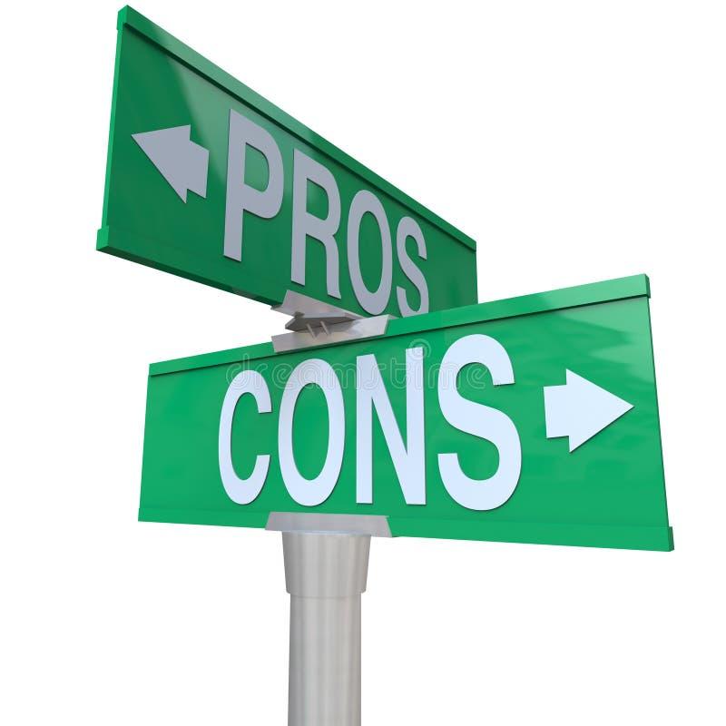 Pros - en - de Tekens die van de cons.straat voor tweerichtingsverkeer Opties vergelijken vector illustratie