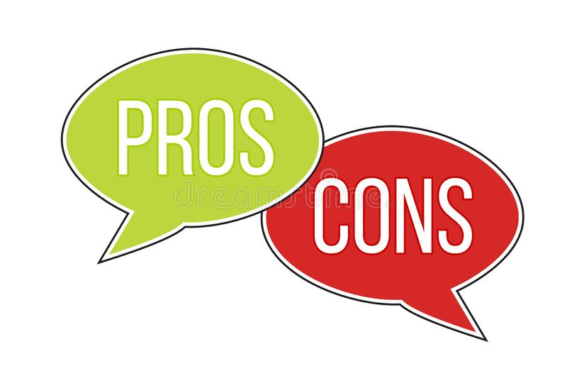 Pros versus cons arguments analysis red left green right word text on opposite balloon speech bubble vector illustration