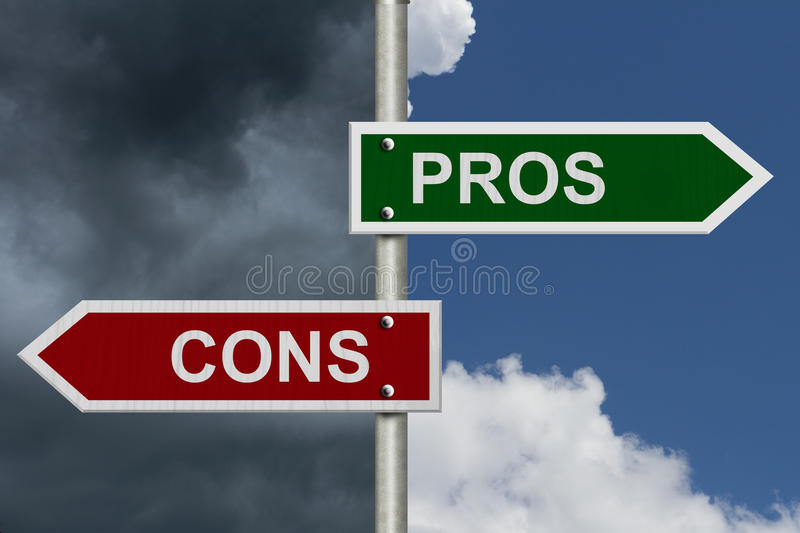 Pros versus Cons. Blue street signs with blue and stormy sky with words Pros and Cons stock images