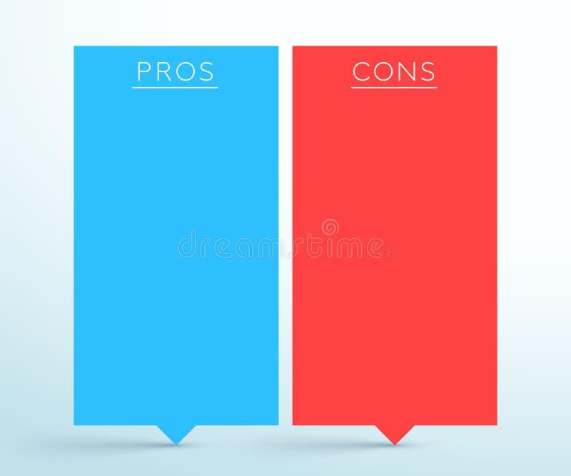 Pros - y - plantilla de Infographic de las banderas de la lista del contra 2 libre illustration