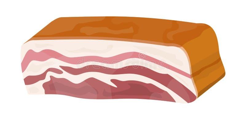Prosciutto affumicato isolato Pezzo di bacon delizioso della carne di maiale illustrazione di stock