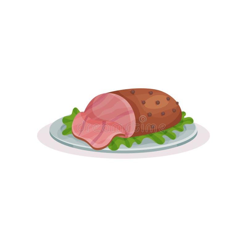 Prosciutto arrostito su un piatto, illustrazione tradizionale di vettore dell'alimento di Natale su un fondo bianco illustrazione vettoriale