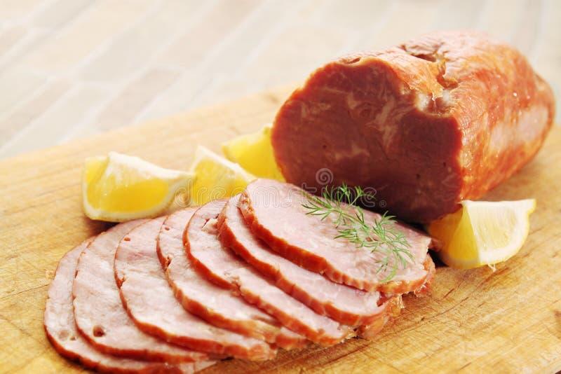 Prosciutto del porco a bordo fotografia stock