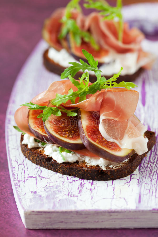 Prosciutto, fig, and cheese sandwich royalty free stock photo