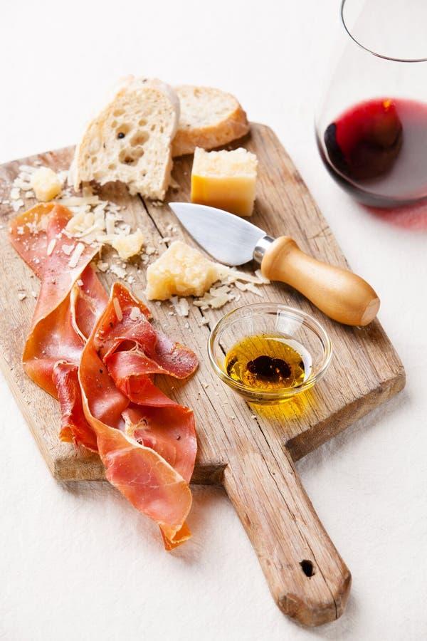 Prosciutto i wino zdjęcie stock