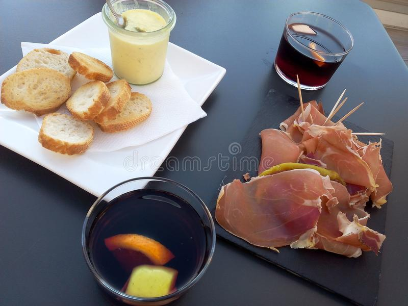 Prosciutto and lemon drink France stock photography