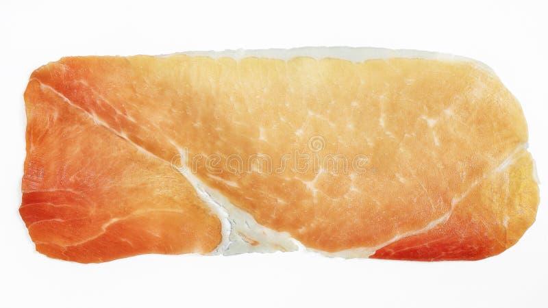 Prosciutto ou hamon isolado em um fundo branco fotografia de stock royalty free