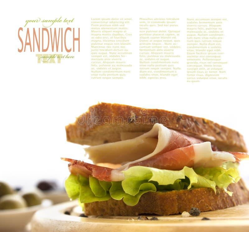 prosciutto serowa kanapka zdjęcia stock