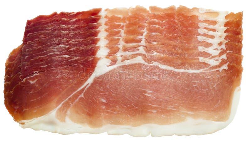 Prosciuttocrudo eller torkat grisköttkött, italiensk traditionell mat royaltyfri fotografi