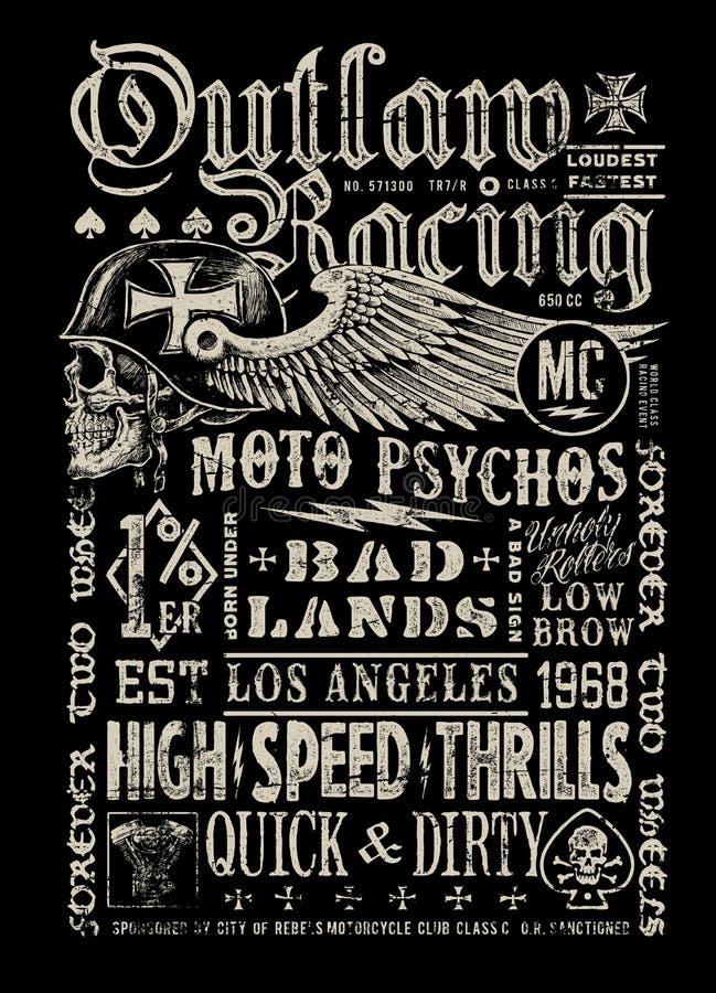 Proscrito compitiendo con el gráfico de la camiseta del cartel del vintage libre illustration