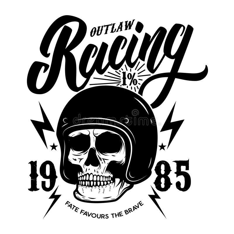 Proscrivez l'emballage Calibre d'emblème avec le crâne de cycliste Élément de conception pour l'affiche, T-shirt, signe, label, l illustration de vecteur