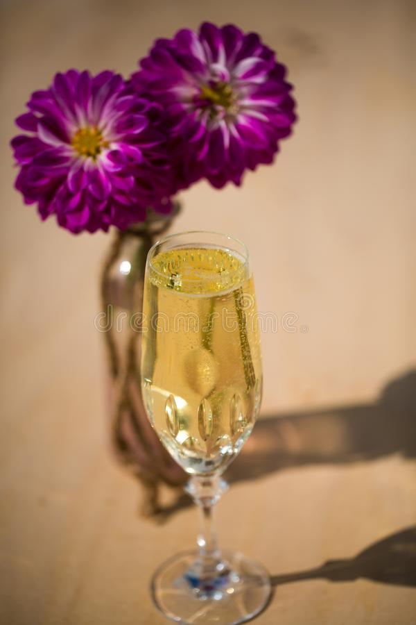 Prosecco with blubber, green background. Sparkle stock images
