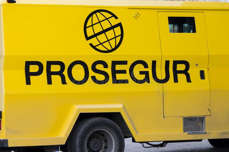 Prosegur logo on Prosegur van. MADRID, SPAIN - DECEMBER 13, 2019. Prosegur logo on Prosegur van. Prosegur is a spanish multinational security company royalty free stock image