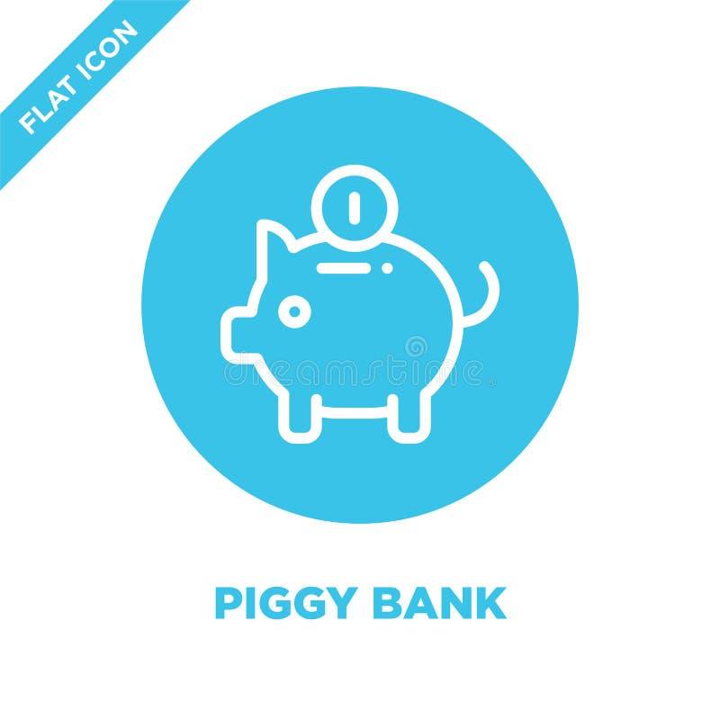 Prosiątko banka ikony wektor Cienka kreskowa prosiątko banka konturu ikony wektoru ilustracja prosiątko banka symbol dla używa na ilustracji