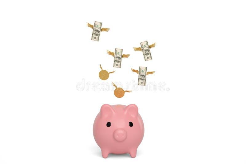 Prosiątka latania i banka dolary z monetami na białym tle 3d ilustracja wektor