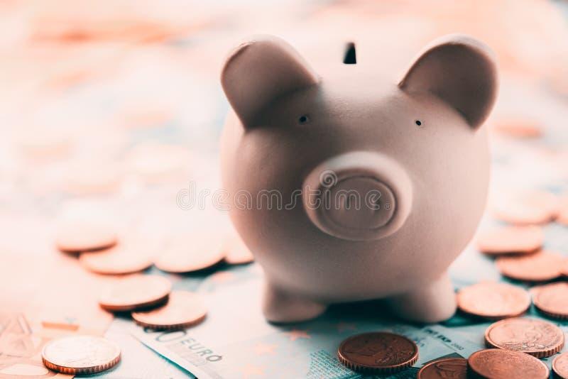 Prosiątka moneybox z euro gotówką zdjęcia royalty free