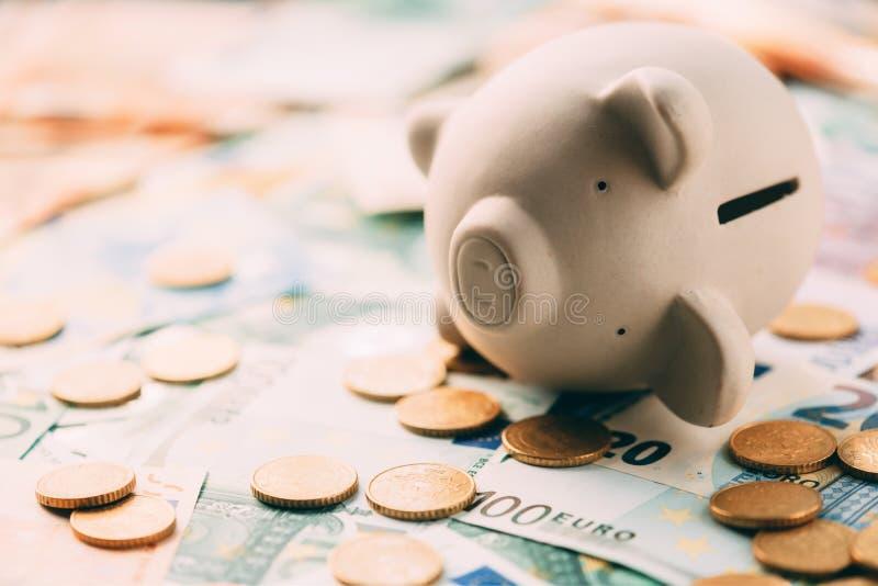 Prosiątka moneybox z euro gotówką obraz royalty free