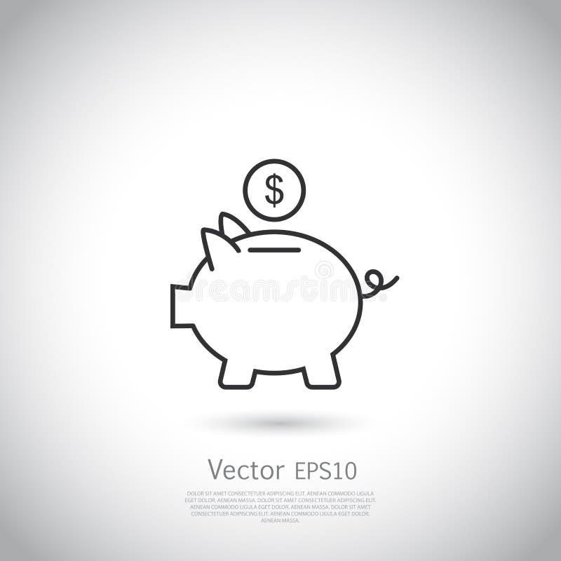 Prosiątko bank i dolar mennicza ikona royalty ilustracja