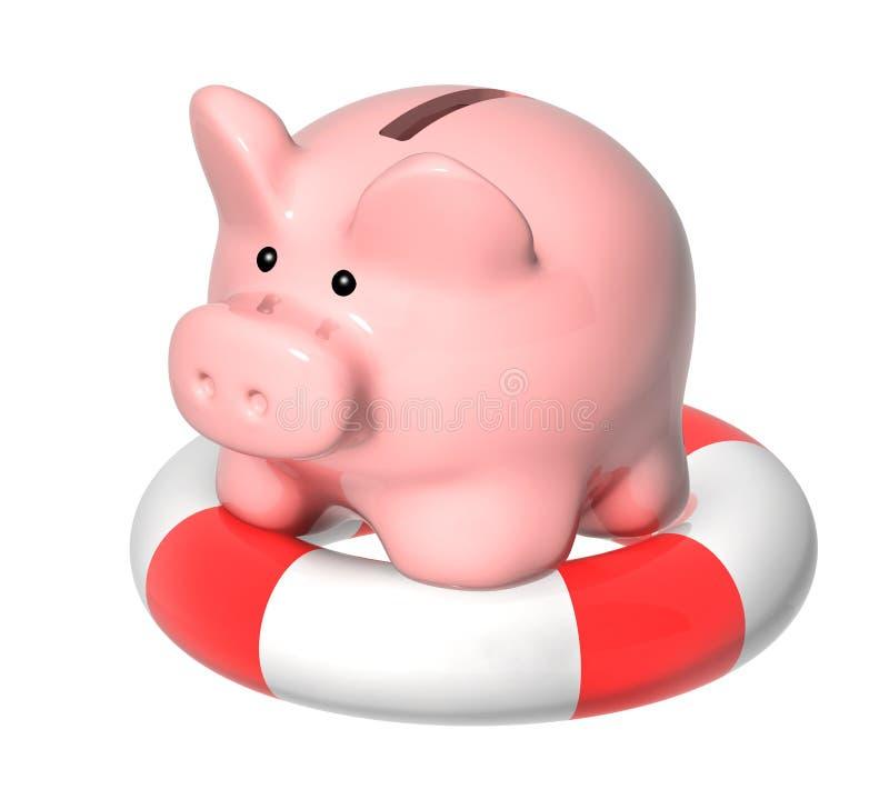 Prosiątko bank i lifebuoy royalty ilustracja