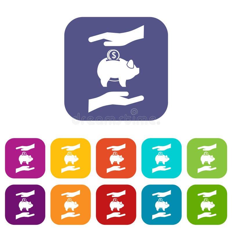 Prosiątko bank i ręk ikony ustawiać ilustracji