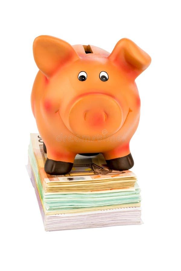 Prosiątko bank na banknotach zdjęcie stock