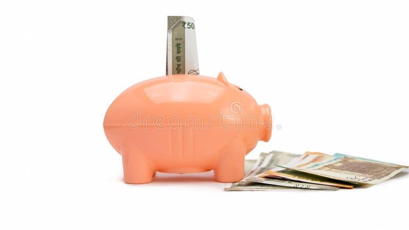 Prosiątko bank na Indiańskiej rupii notatkach, zbliżenie - wizerunek obraz royalty free