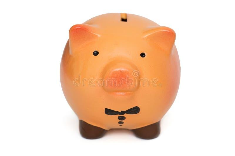Prosiątko bank oprócz dla monety na białym tle Prosi?tko bank odizolowywaj?cy na bia?ym tle obraz royalty free