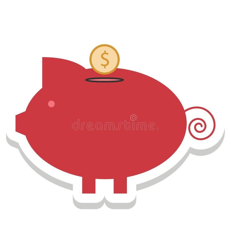 Prosiątko bank, pieniądze bank Odizolowywać Wektorowe ikony może być modyfikuje z jakaś stylem royalty ilustracja