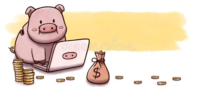 Prosiątko bank używać komputer inwestować - sztandar z akwareli tłem royalty ilustracja