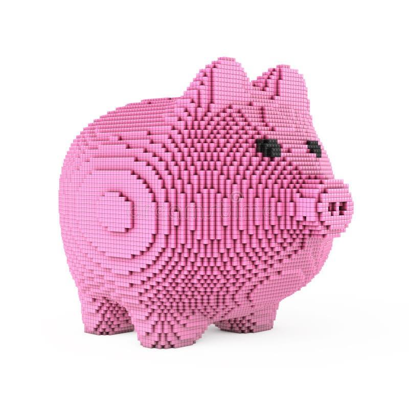 Prosiątko bank w piksel sztuki stylu świadczenia 3 d ilustracja wektor