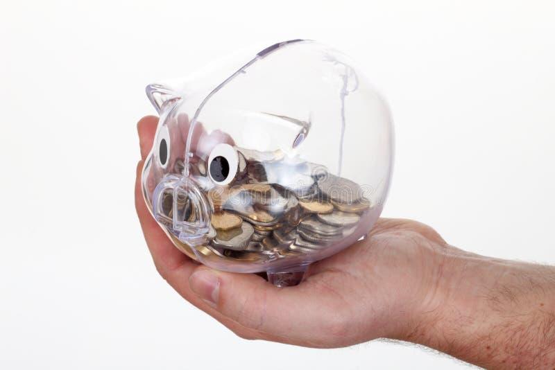 Prosiątko bank w szkle z monetami na ręce obraz royalty free