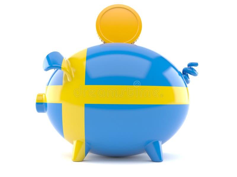 Prosiątko bank w szwedzi flaga royalty ilustracja