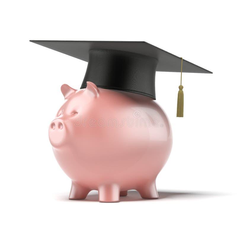 Prosiątko bank z Czarnym skalowanie kapeluszem ilustracji
