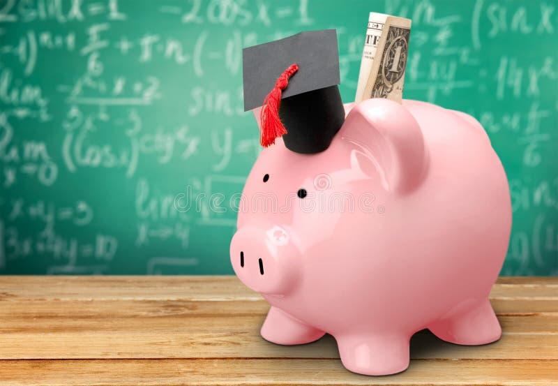 Prosiątko bank z Czarnym skalowanie kapeluszem na blackboard obrazy royalty free