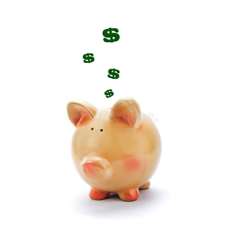 Prosiątko bank z dolarowymi znakami above obraz stock