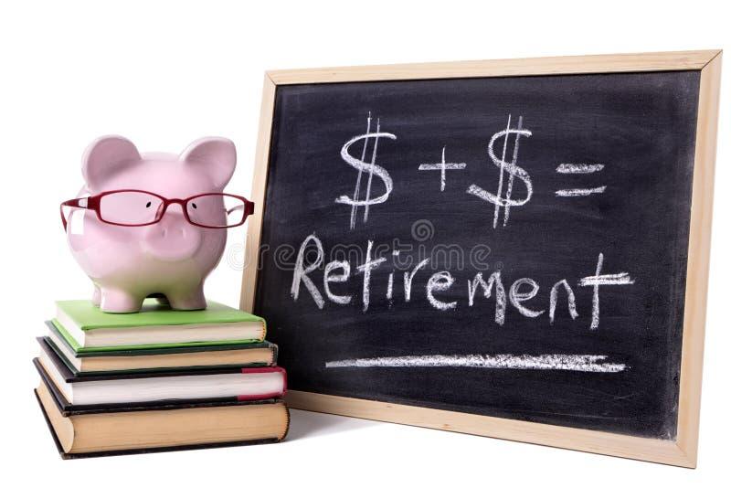 Prosiątko bank z emerytura formułą obraz stock