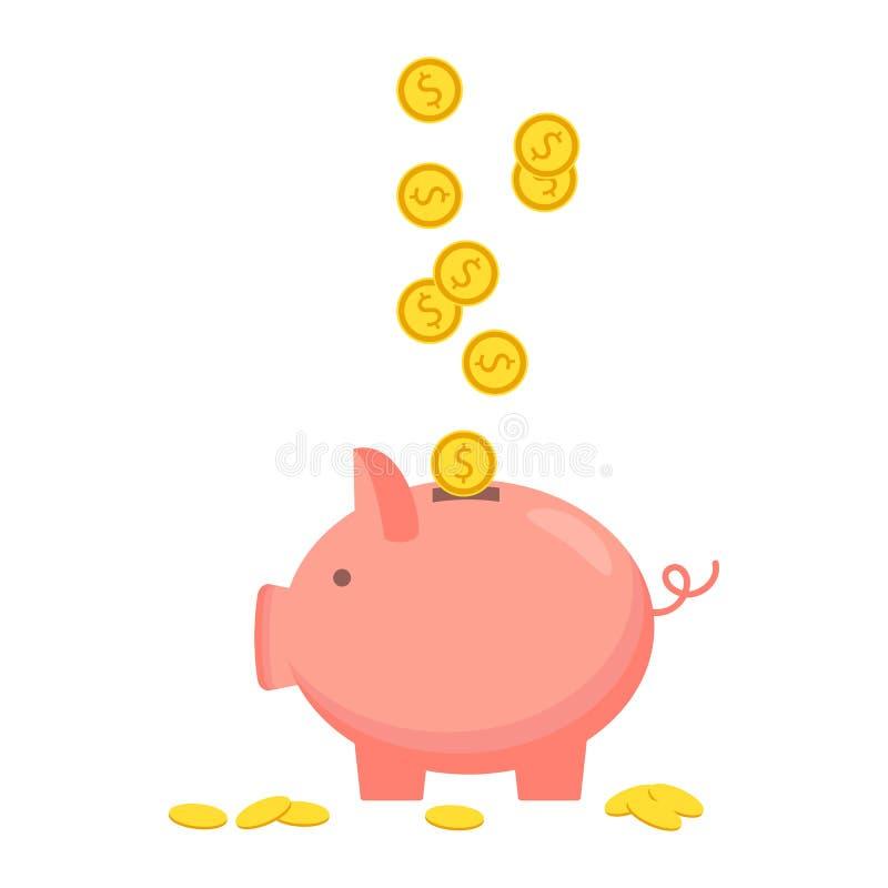 Prosiątko bank z menniczą ikoną, odosobniony mieszkanie styl Pojęcie pieniądze royalty ilustracja
