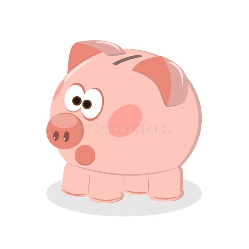 Prosiątko bank z menniczą wektorową ilustracją Ikony oszczędzanie lub akumulacja pieniądze, inwestycja Ikony prosiątka bank w pła ilustracja wektor