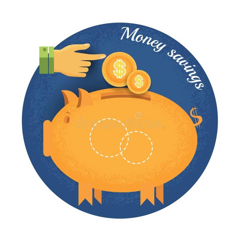 Prosiątko bank z monety i ręki pointeru rocznika pieniądze oszczędzania retro stylową ikoną na błękitnym okręgu tle ilustracji